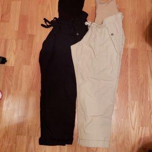 Motherhood maternity crop pants xl black and khaki